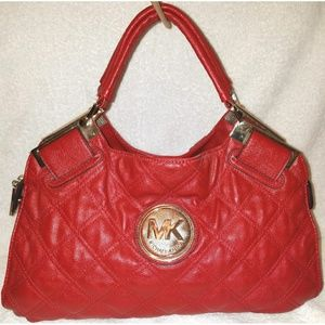 Large red leather satchel handbag with zip close